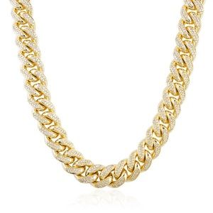 Men's Gold Cuban Link Chain With Diamonds
